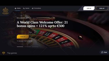 21Casino Welcome Offer ROW Home Page