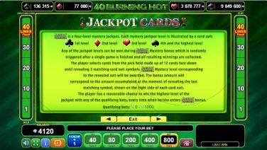 40 Burning Hot Jackpot Cards