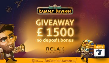 Relax Gaming GIVEAWAY – £1500 in No Deposit Spins for Ramses Revenge