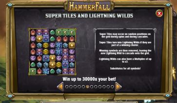 HammerFall Super Tiles and Lightning Wilds feature